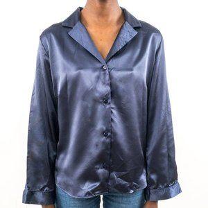 Vintage 90s Victoria's Secret S Satin Shirt Blue